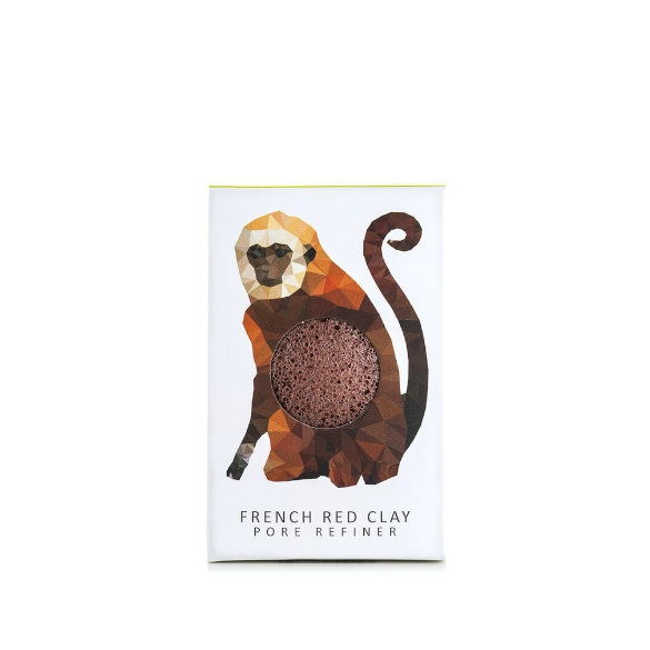 KONJAC MINI PORE REFINER RAINFOREST MONKEY WITH FRENCH RED CLAY - Realness of Beauty