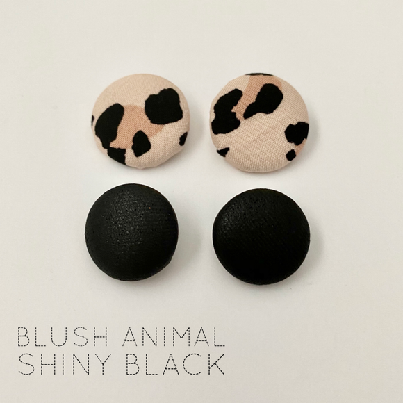 FABRIC EARRINGS - BLUSH ANIMAL & SHINY BLACK