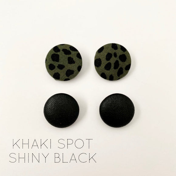 FABRIC EARRINGS - KHAKI SPOT & SHINY BLACK