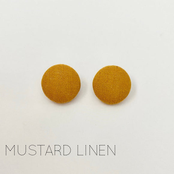 FABRIC EARRINGS - MUSTARD LINEN