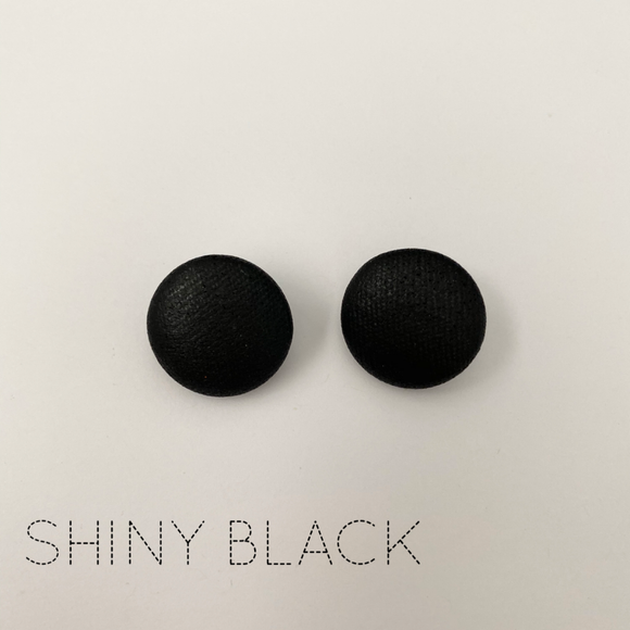 FABRIC EARRINGS - SHINY BLACK