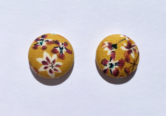 FABRIC EARRINGS - MUSTARD FLORAL