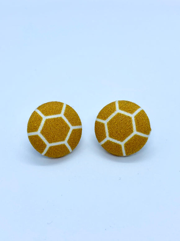 FABRIC EARRINGS - HONEYCOMB