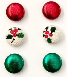 CHRISTMAS FABRIC EARRINGS - HOLLIES, SHINY GREEN & SHINY RED