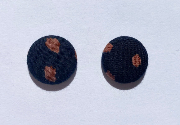 FABRIC EARRINGS - BLACK & BROWN SPOT