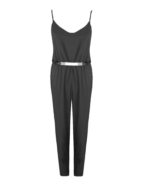 Women Ladies Sleeveless Adjustable Strap Two Tone Belted Block Playsuit Jumpsuit
