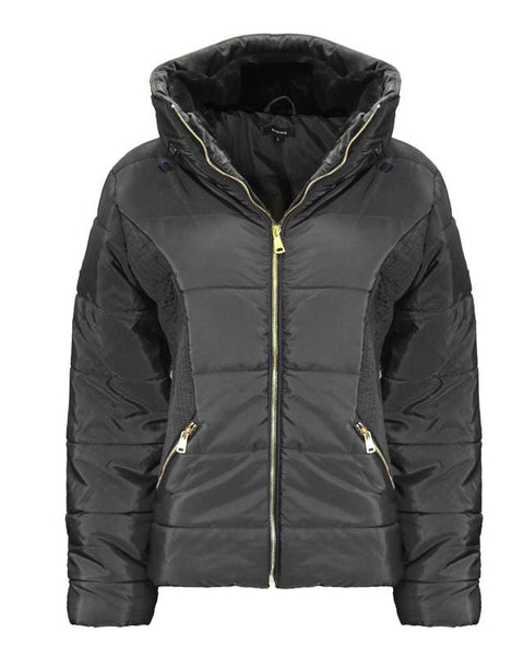 New Ladies Women Concealed Hooded Long Sleeve Quilted Padded Bubble Jacket Coat