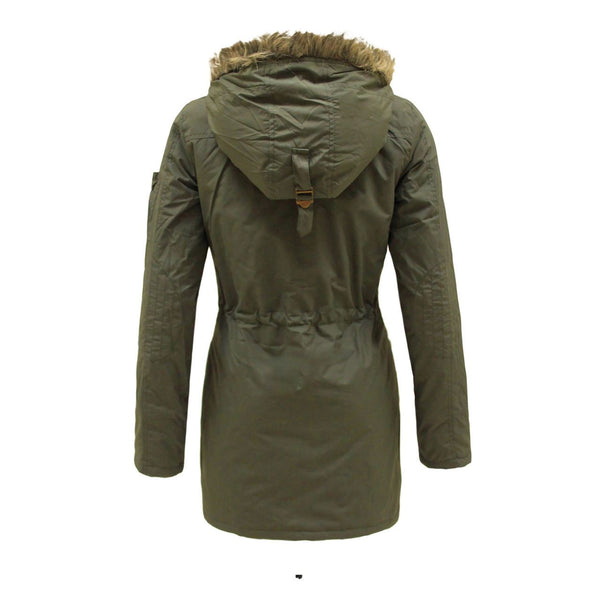 LAIDIES WOMENS FAUX FUR HOODED MILTARY PARKA ZIP UP COAT WARM WINTER JACKET 8-16
