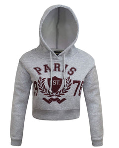 LADIES WOMEN PARIS 1978 LONG SLEEVE CROP TOP HOODIE JUMPER BAGGY SWAETSHIRT 8-14
