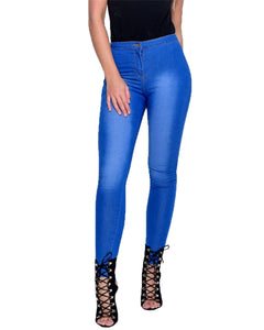 New Ladies Women Faded Ripped Denim Multi Slash Skinny Stretchy Jeans Jeggings