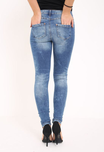 Womens Ladies Stretch Faded Ripped Slim Fit Skinny Denim Jeans Size 6 8 12 14 16