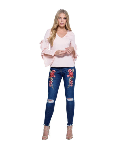 Ladies Women Embroidered Floral Patch Detail Knee Rip Skinny Jeans 6 8 10 12 14