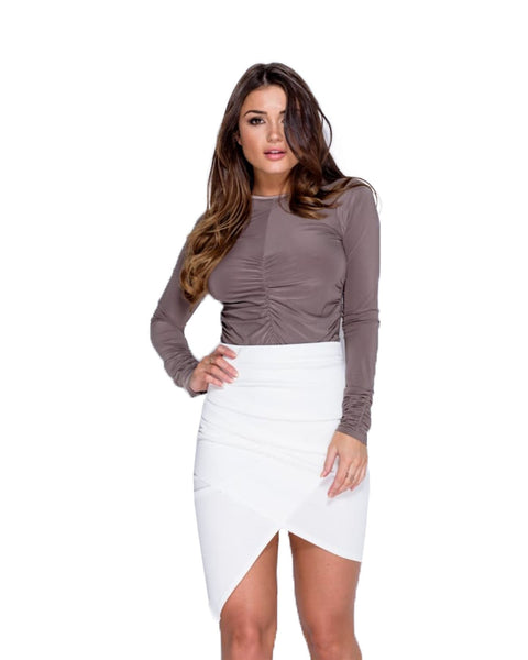 New Ladies Women Wrap Over Asymmetric Hem Bodycon Wrap Mini Stretch Skirt 6-14