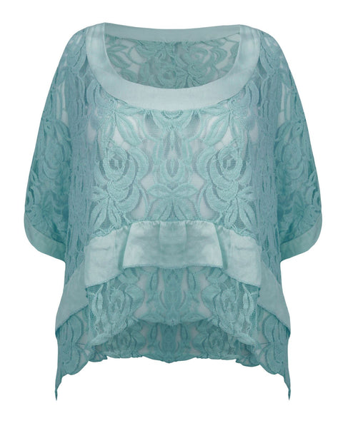 New Ladies Women Italian Frill See Through Lace Crop Top Cotton Batwing Jumper