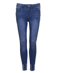 New Ladies Women Ripped Hem Distress Super Skinny Stretch Jeans Jeggings Blue