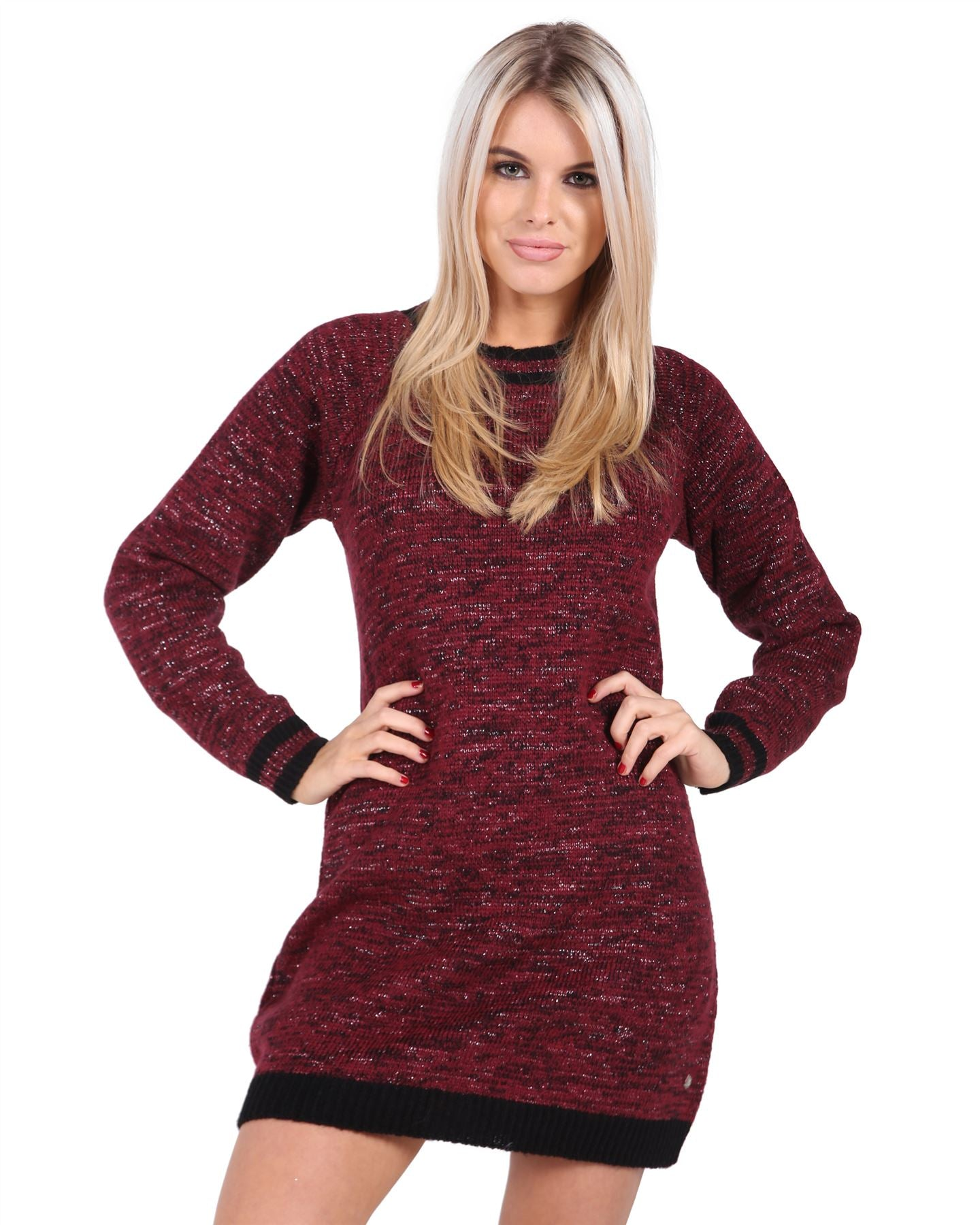 Ladies Women Knitted Long Sleeve Crew Neck Jumper Dress Soft Knit Top Sweater