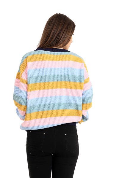New Knitted Multi Stripe Long Sleeve Crew Neck Ladies Women Jumper Top Sweater
