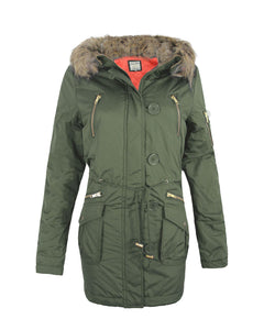 Ladies Women Faux Fur Hood Miltary Parka Coat Quilted Padded Warm Jacket 8-16