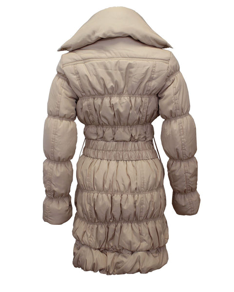 Ladies Women Puffer High Neck Collar Quilted Padded Waist Belt Coat Jacket 8-16