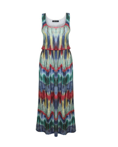 New Ladies Women Elasticised Waist Contrast Print Long Maxi Summer Beach Dress