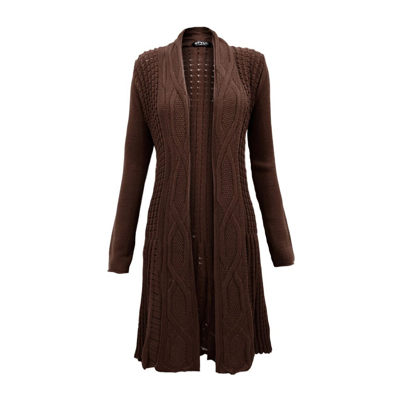 Knitted Boyfriend Open Front Cardigan Top Dress Ladies Womens Cable Knit Jumper