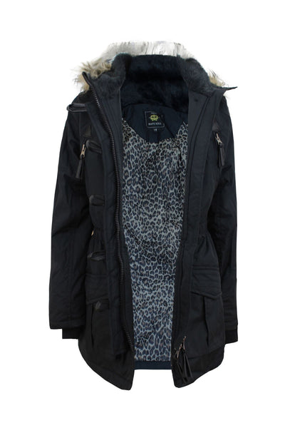 GIRLS KIDS BRAVE SOUL FUR HOODED MILTARY PARKA ANIMAL PRINT CASUAL COAT JACKET