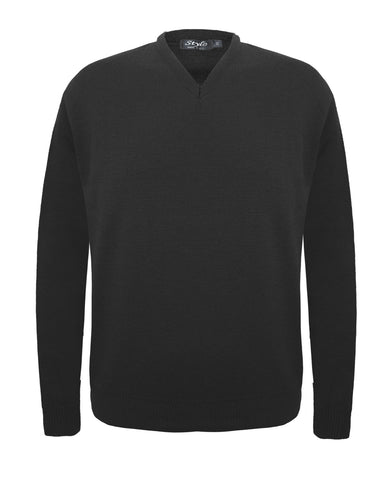 Mens Knitted Long Sleeves V Neck Plain Soft Jumper Gents Sweater Pullover Top