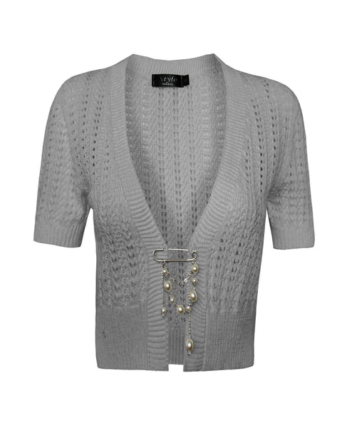 Ladies Womens knitted Short Sleeves Brooched CARDIGAN New Shrug Crop TOP 8-16
