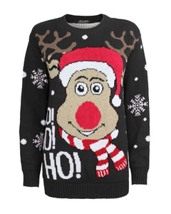 New Unisex Adult Kids Knitted HoHoHo Christmas Xmas Reindeer Jumper Top Sweater