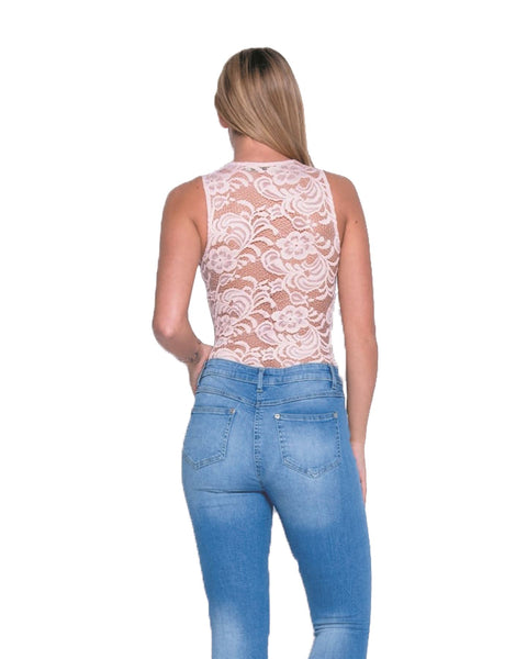 Women Ladies Sleeveless Scallop Lace V Neck Bodysuit Leotard Lace Top Jumpsuit