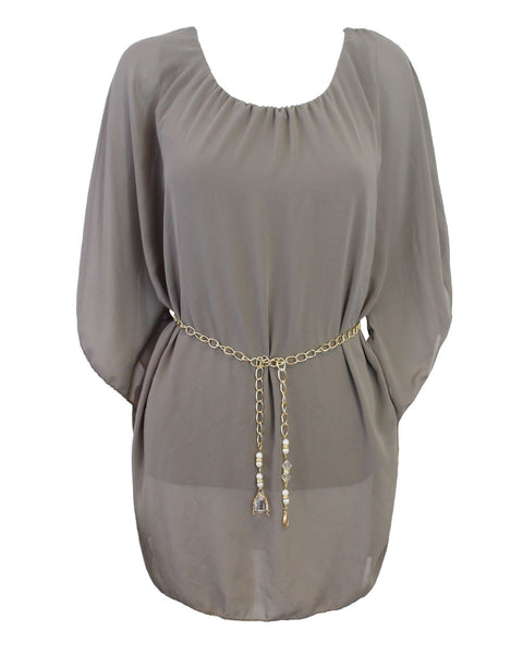 NEW LADIES WOMENS BATIWING STYLE SHEER PONCHO DRESS GOLDEN CHAIN TOP SIZE 8-14