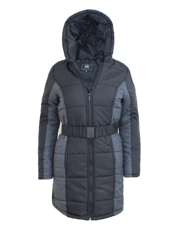 Ladies Womens Detached Fur Quilted Padded Puffa Parka Hood Jacket Belted Coat