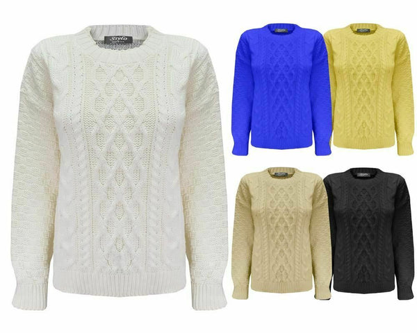Ladies Women Crew Neck Diamond Knit Long Sleeve Cable Jumper Short Sweater Top