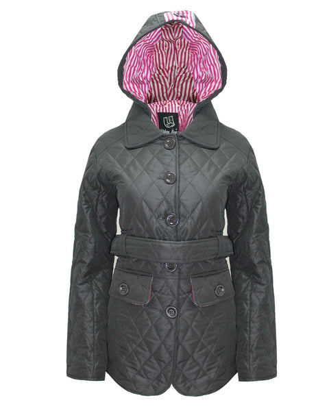 New Ladies Quilted Hooded Women Padded Belted Button Jacket Black Coat Size 8-14