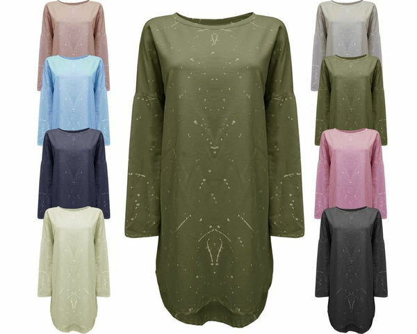 Ladies Women Splash Print Italian Loose fit Batwing Lagenlook Tunic Dress Top