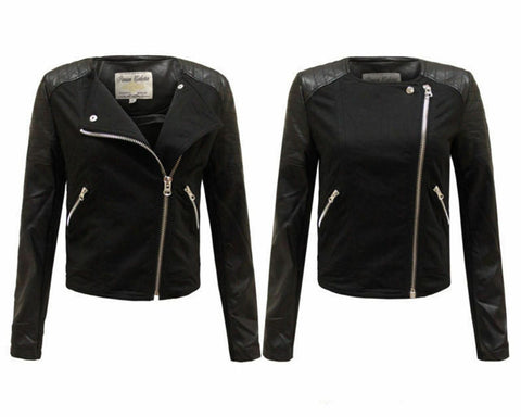 New Ladies Women Side Zipped Faux Leather PU PVC Crop Black Biker Jacket 8-14