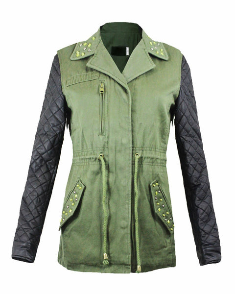 LADIES WOMEN LEATHER PVC QUILTED SLEEVES RIVETS STUDS MILITARY PARKA JACKET COAT