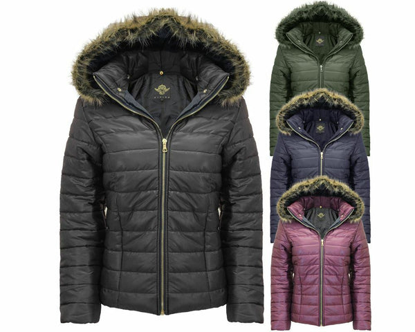 Ladies Women Shiny WetLook Quilted Puffer Fur Hooded Bubble Jacket Coat Top 8-14