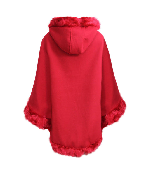 Ladies Womens Faux Fur Hood Italian Cardigan Warm Winter Poncho Cape Coat Jacket