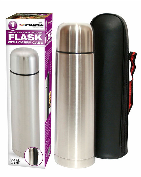 1L Stainless Steel Vacuum Flask Leakproof Hot Travel Coffee Mug Cup Carry Case