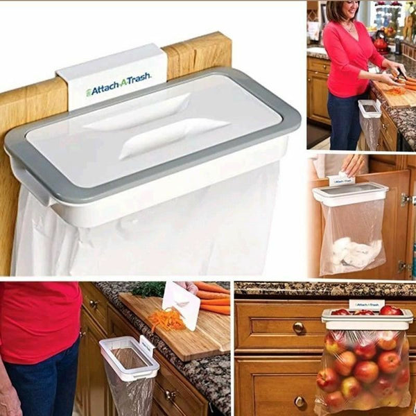 New Attach-A-Trash Hanging Trash Bag Holder Home Kitchen Dirt Rubbish Waste Bin