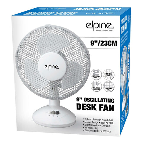"Elegant Design Oscillating 2 Speeds 9"" Clip on Desk Fan Table White 3 Pin Plug"