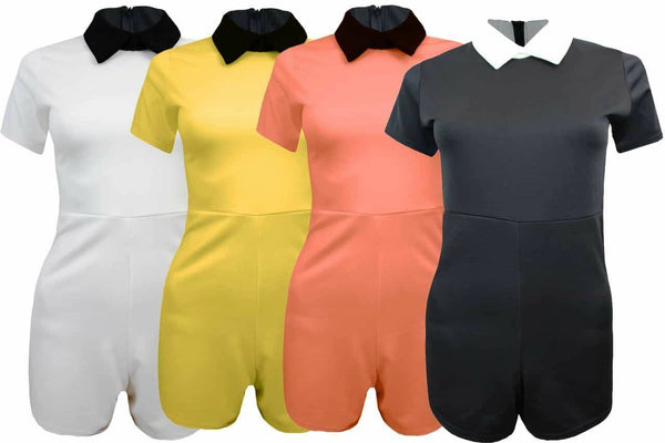 Ladies Womens Short Sleeve Peter Pan Collar Plain Stretch Playsuit Jumpsuit 8-14
