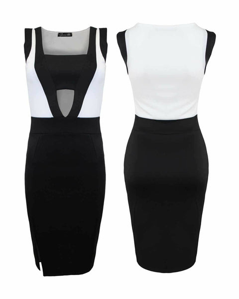 Ladies Women Tank Sleeveless Side Slit Hollow Out Sheath Midi Bodycon Dress Top