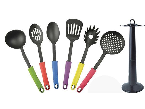 New 7 Pieces Premium Quality Non-stick Cooking Utensil Nylon Colourful Set Stand