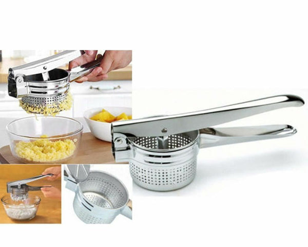 New Stainless Steel Hand Held Potato Ricer Masher Fruit Vegetable Juicer Puree