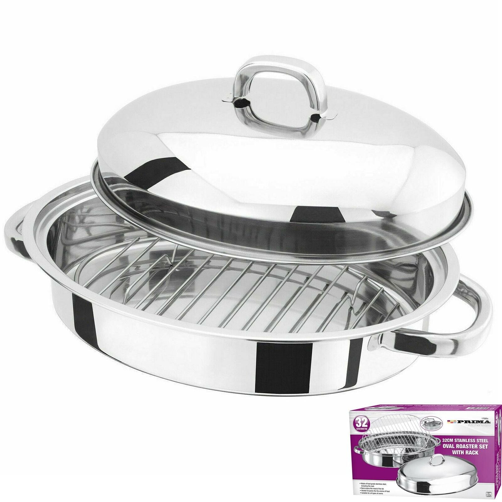 New 32cm Stainless Steel Roasting Tray Pan Set Lid Oval Kitchen Cooking Baking