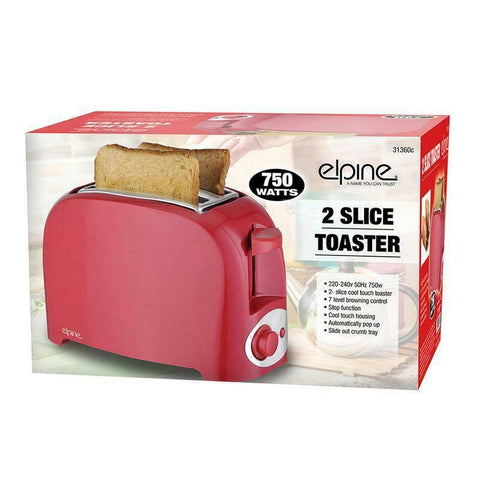 New Cool Touch 750w Two Slice Toaster Bread Automatically Pop Up UK Plug