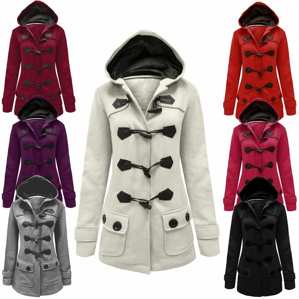 Ladies Womens Fleece Jacket Duffle Toggle Style Hooded Pocket Coat Top Size 8-20