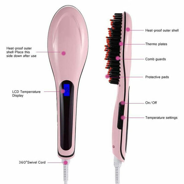 New Light Sleek LCD Fast Hair Straightener Brush Straight Ultra Smooth Hair Comb